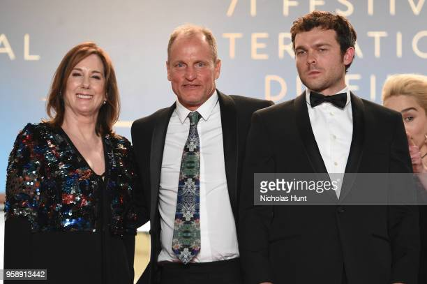 Producer Kathleen Kennedy actors Woody Harrelson and Alden Ehrenreich departs the screening of 'Solo A Star Wars Story' during the 71st annual Cannes...