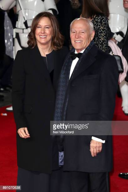 Producer Kathleen Kennedy and guest attend the European Premiere of 'Star Wars The Last Jedi' at Royal Albert Hall on December 12 2017 in London...