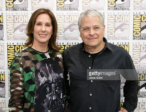 Producer Kathleen Kennedy and screenwriter Lawrence Kasdan at the Hall H Panel for Star Wars The Force Awakens during ComicCon International 2015 at...