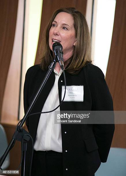Producer Kathleen Kennedy attends The Archer School For Girls launches new media space at The Archer School for Girls on January 14 2015 in Los...