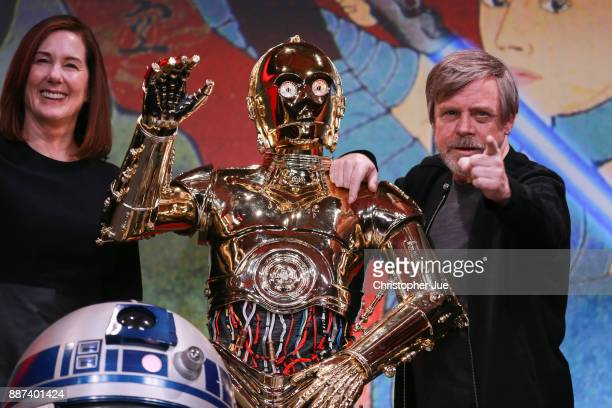 Producer Kathleen Kennedy C3PO and Mark Hamill attend the 'Star Wars The Last Jedi' press conference at the Ritz Carlton Tokyo on December 7 2017 in...