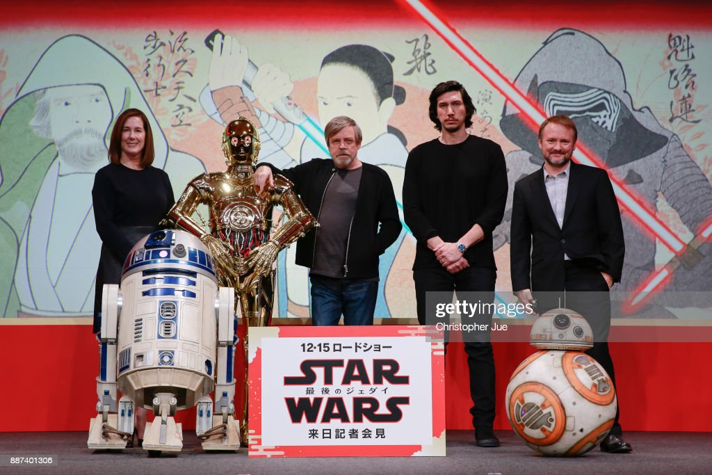 Producer Kathleen Kennedy, C-3PO, Mark Hamill, Adam Driver and Director Rian Johnson attend the 'Star Wars: The Last Jedi' press conference at the Ritz Carlton Tokyo on December 7, 2017 in Tokyo, Japan.