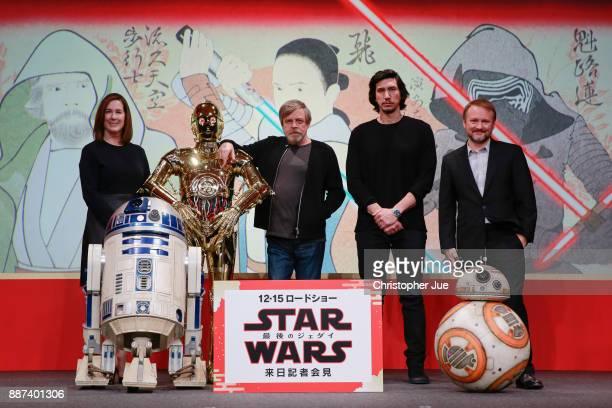 Producer Kathleen Kennedy C3PO Mark Hamill Adam Driver and Director Rian Johnson attend the 'Star Wars The Last Jedi' press conference at the Ritz...