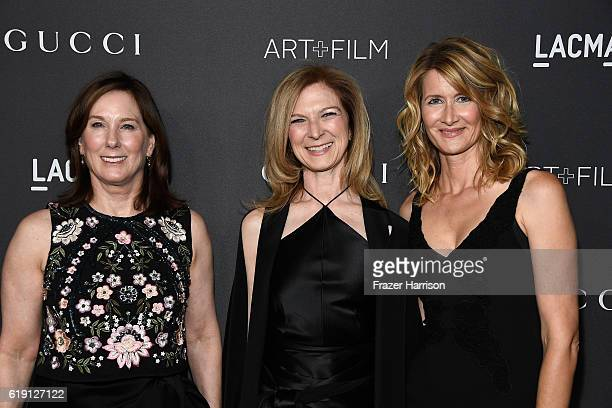 Producer Kathleen Kennedy CEO of the Academy of Motion Picture Arts and Sciences Dawn Hudson and actress Laura Dern attend the 2016 LACMA Art Film...