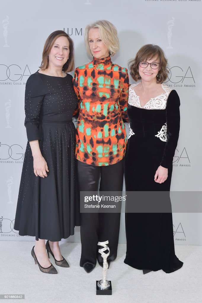 Producer Kathleen Kennedy, honoree Joanna Johnston, recipient of the Career Achievement Award, and actor Sally Field attend the Costume Designers Guild Awards at The Beverly Hilton Hotel on February 20, 2018 in Beverly Hills, California.