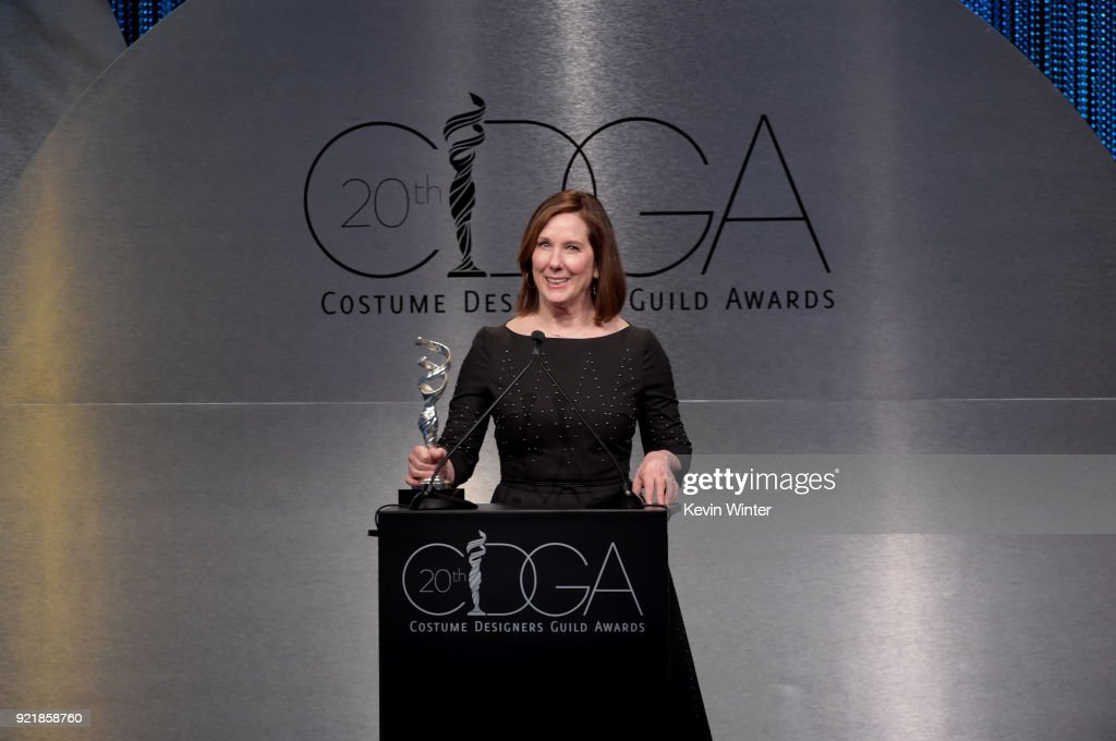 Producer Kathleen Kennedy speaks onstage during the Costume Designers Guild Awards at The Beverly Hilton Hotel on February 20, 2018 in Beverly Hills, California.