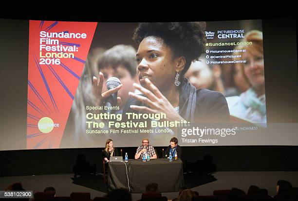 Producer Katie Metcalfe BFI and London Short Film Festival Programmer Philip Ilson and Sundance Film Festival Programmer Mike Plante speak on stage...