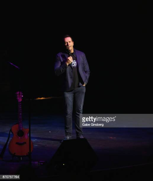 Producer Ken Henderson speaks during the Vegas Cares benefit at The Venetian Las Vegas honoring victims and first responders of last month's mass...