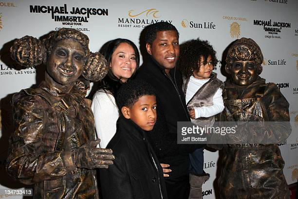 Producer Kenneth Babyface Edwards and Nicole Pantenburg arrive with daughter Peyton Nicole Edmonds and Brandon Edmonds at the Las Vegas premiere of...