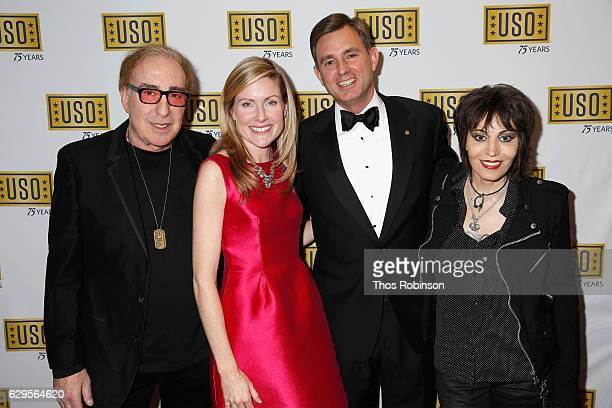 Producer Kenny Laguna President CEO USO of Metropolitan New York Brian Whiting and musician Joan Jett attends the USO 75th Anniversary Armed Forces...