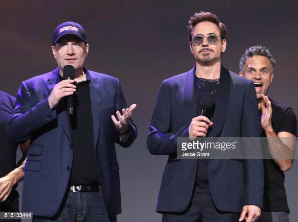 Producer Kevin Feige actors Robert Downey Jr and Mark Ruffalo of AVENGERS INFINITY WAR took part today in the Walt Disney Studios live action...
