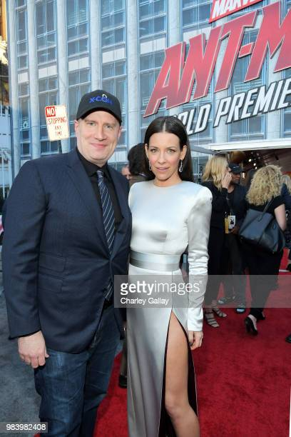 Producer Kevin Feige and Actor Evangeline Lilly attend the Los Angeles Global Premiere for Marvel Studios' 'AntMan And The Wasp' at the El Capitan...