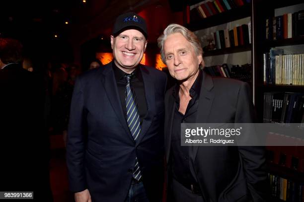 Producer Kevin Feige and actor Michael Douglas attend the Los Angeles Global Premiere for Marvel Studios' AntMan And The Wasp at the El Capitan...