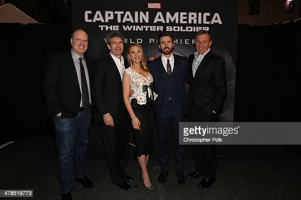 Producer Kevin Feige Chairman of The Walt Disney Studios Alan Horn actors Scarlett Johansson and Chris Evans and Chairman CEO of The Walt Disney...