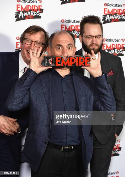 Producer Kevin Loader actor Armando Iannucci and screenwriter Peter Fellows winners of the award for Best Comedy for 'Death of Stalin' pose in the...