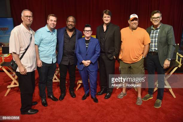 Producer Kevin Reher director Brian Fee actors Isiah Whitlock Jr Lea DeLaria Nathan Fillion Larry the Cable Guy and Ray Evernham pose at the Cars 3...