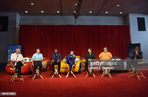 Producer Kevin Reher director Brian Fee actors Isiah Whitlock Jr Lea DeLaria Nathan Fillion Larry the Cable Guy and Ray Evernham speak at the 'Cars...