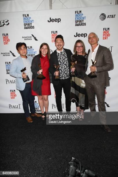 Producer Ki Jin Kim producer Giulia Caruso filmmaker Andrew Ahn producer Kelly Thomas and producer David Ariniello winners of the John Cassavetes...