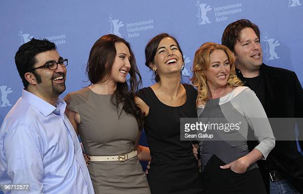 Producer Kia Jam actresses Anna Anissimova Camilla Belle Virginia Madsen and director Trent Cooper attend the 'Father Of Invention' Photocall during...