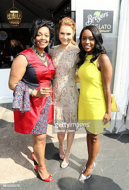 Producer Kiara C Jones and actresses Darby Stanchfield and Aja Naomi King stopped by the Breyers Gelato Indulgences Lounge backstage at the 30th...