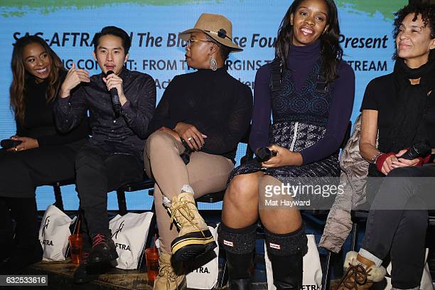 Producer Kimberly Steward Actor/Direct Justin Chon Producer Taj Paxton Funa Maduka Producer Stephanie Allain speak during the Creating Content From...