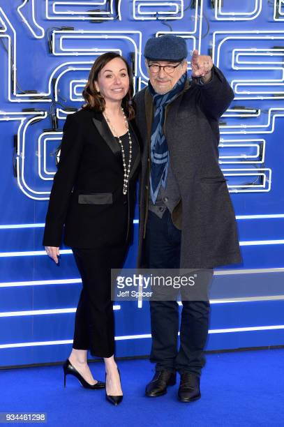Producer Kristie Macosko Krieger and director Steven Spielberg attend the European Premiere of 'Ready Player One' at Vue West End on March 19 2018 in...