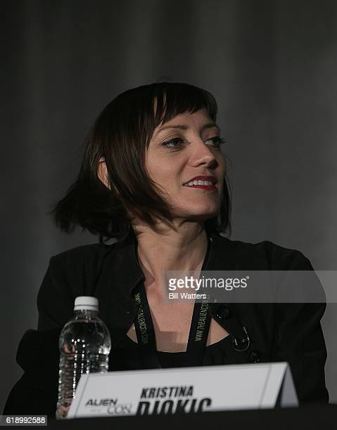 Producer Kristina Djokic speaks on the Ancient Aliens spotlight panel at Alien Con at the Santa Clara Convention Center on October 28 2016 in Santa...