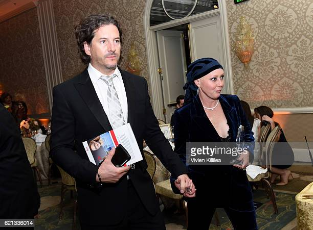 Producer Kurt Iswarienko and actress Shannen Doherty attend the American Cancer Society's Giants of Science Los Angeles Gala on November 5 2016 in...