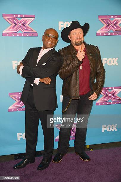 Producer LA Reid and season 2 winner Tate Stevens celebrate at Fox's The X Factor Season Finale Night 2 at CBS Television City on December 20 2012 in...
