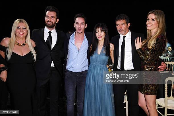 Producer Lady Monika Bacardi Andrea Iervolino Jonathan Rhys Meyers Mara Lane Antonio Banderas and Nicole Kimpel attend AMBI GALA in honor of Antonio...