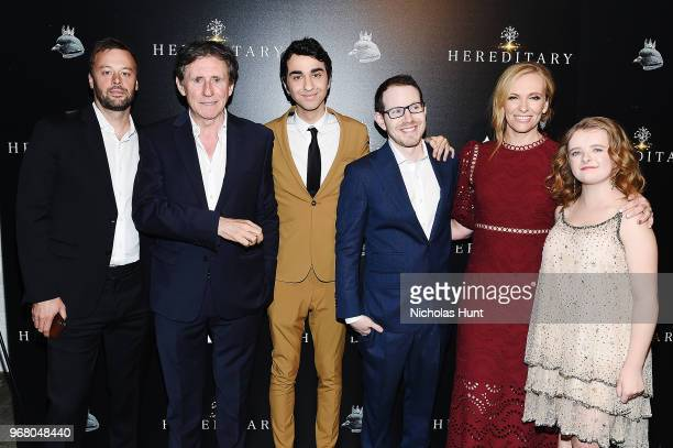 Producer Lars Knudsen Gabriel Byrne Alex Wolff Director Ari Aster Toni Collette and Milly Shapiro attends the Hereditary New York Screening at...