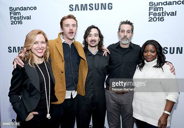 Producer Laura Rister actor Boyd Holbrook writer/director Jason Lew actors Waleed Zuaiter and Octavia Spencer attend The Free World Cocktails at the...