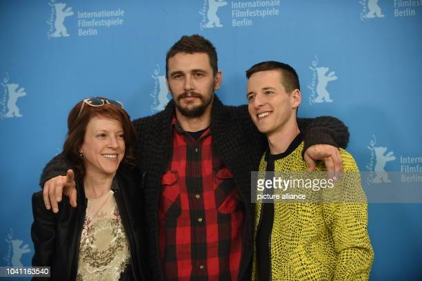 Producer Lauren Selig actor James Franco and director Justin Kelly poses during a photocall for 'I am Michael' at the 65th International Film...
