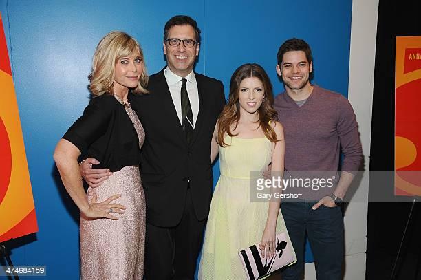 Producer Lauren Versel screenwriter/director Richard LaGravenese actors Anna Kendrick and Jeremy Jordan attend the The Last Five Years New York...