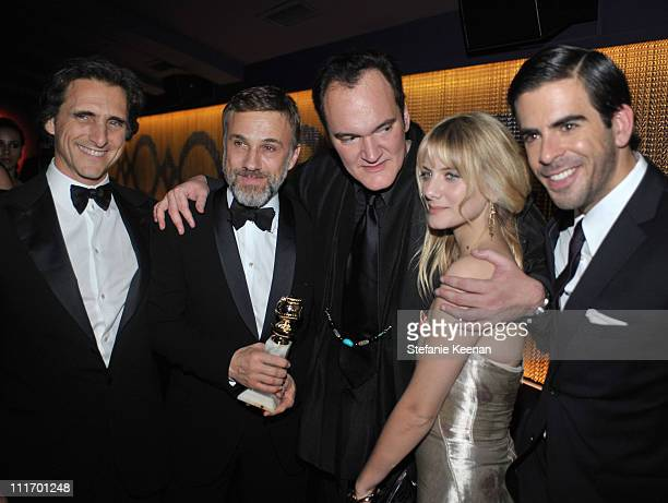 Producer Lawrence Bender actor Christoph Waltz director Quentin Tarantino actress Melanie Laurent and director Eli Roth attend the Weinstein Company...