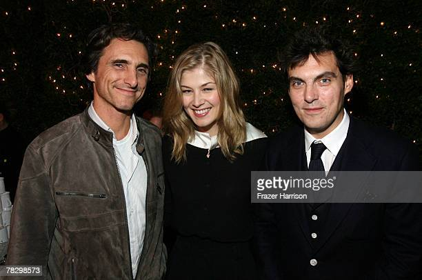 Producer Lawrence Bender actress Rosamund Pike and director Joe Wright attend the Focus Features' 'Atonement' premiere after party at the Academy of...