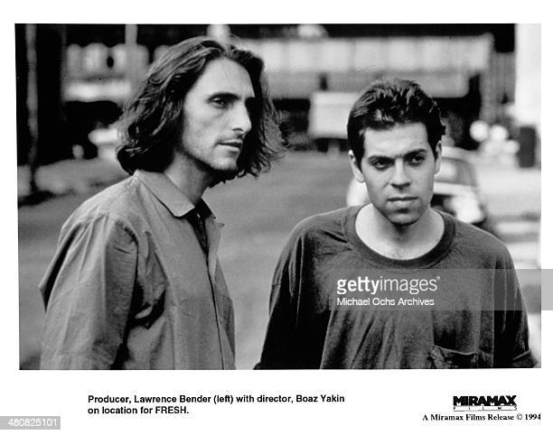 Producer Lawrence Bender with director Boaz Yakin on the set of the Miramax movie Fresh circa 1994