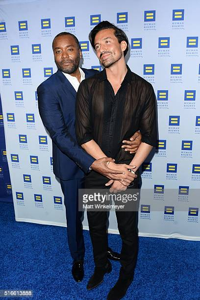 Producer Lee Daniels and stylist Jahil Fisher arrive at the Human Rights Campaign 2016 Los Angeles Gala Dinner at JW Marriott Los Angeles at LA LIVE...