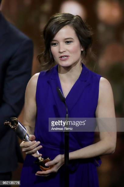 Producer Lena Schoemann accepts the award 'Biggest Movie Audience' for the film 'Fack ju Goehte' on stage during the Lola German Film Award show at...