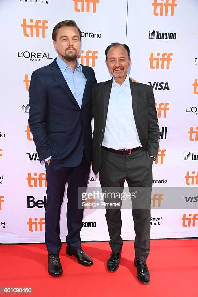 Producer Leonardo DiCaprio and director Fisher Stevens attend the Before the Flood premiere during the 2016 Toronto International Film Festival at...