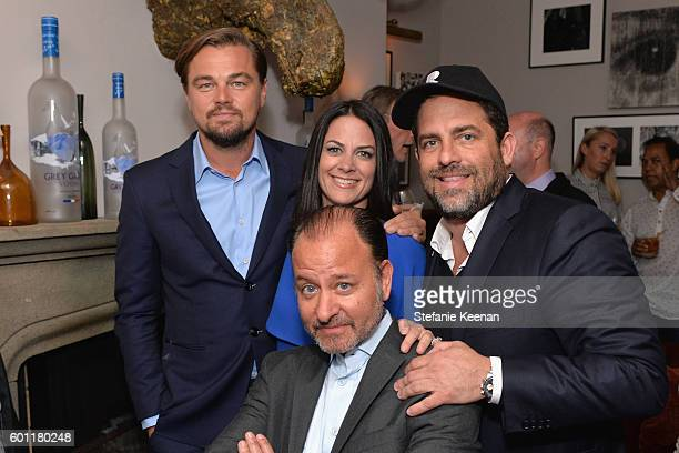 Producer Leonardo DiCaprio guest director Fisher Stevens and producer Brett Ratner at the Before the Flood TIFF party hosted by GREY GOOSE Vodka and...