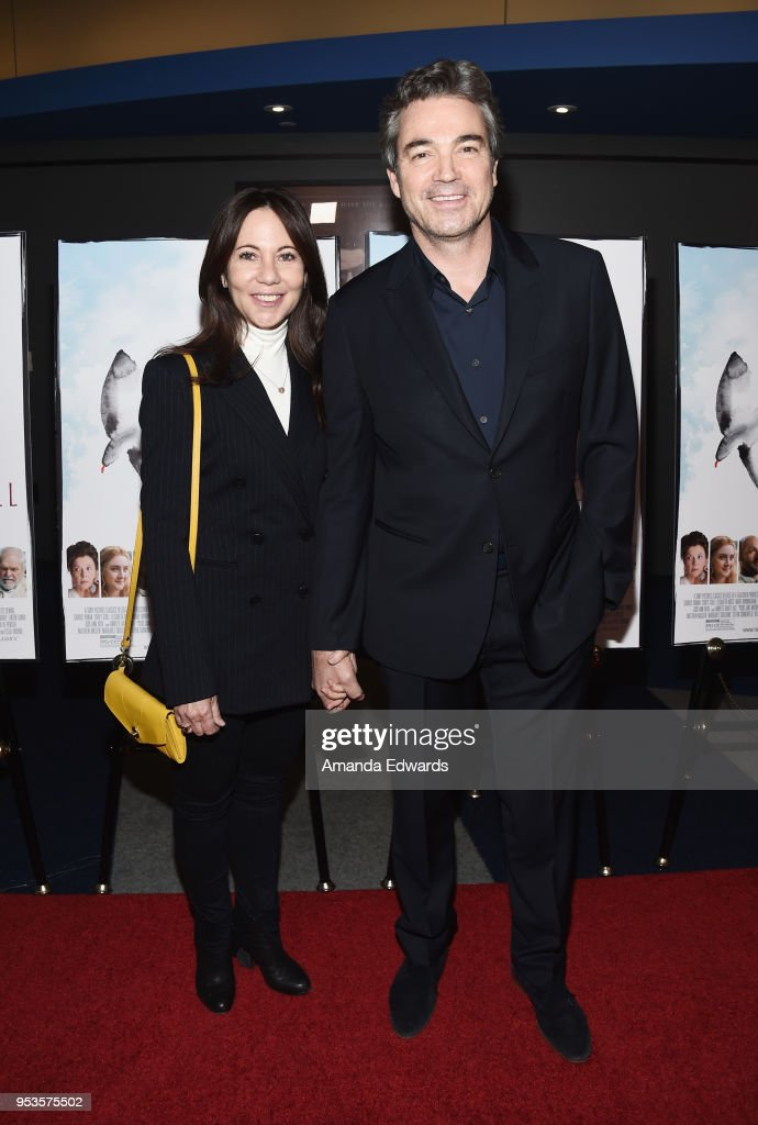Producer Leslie Urdang (L) and actor Jon Tenney arrive at the premiere of Sony Pictures Classics' 'The Seagull' at the Writers Guild Theater on May 1, 2018 in Beverly Hills, California.