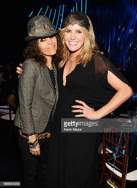 Producer Linda Perry and singer Grace Potter attend the 28th Annual Rock and Roll Hall of Fame Induction Ceremony at Nokia Theatre LA Live on April...
