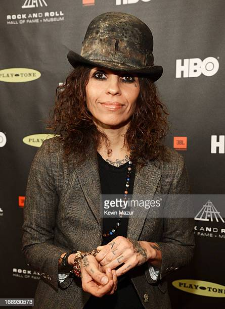 Producer Linda Perry attends the 28th Annual Rock and Roll Hall of Fame Induction Ceremony at Nokia Theatre LA Live on April 18 2013 in Los Angeles...
