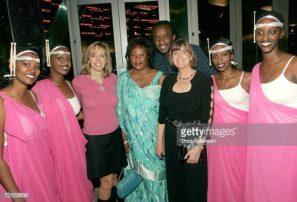Producer Linda Vester Imaculee Mukanyonza writer JB Rutagarama and Truus Bos with Rwandan dancers arrive at the World Premiere of Back Home during...