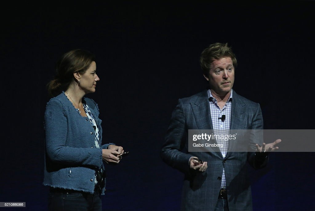 Producer Lindsey Collins (L) and director Andrew Stanton speak during the Walt Disney Studios' presentation at The Colosseum at Caesars Palace during CinemaCon, the official convention of the National Association of Theatre Owners, on April 13, 2016 in Las Vegas, Nevada.