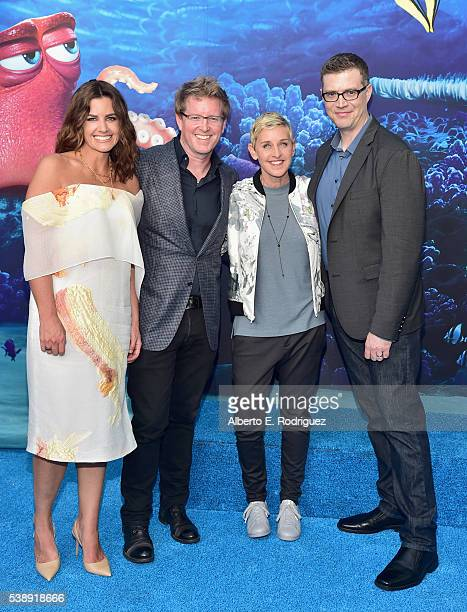 Producer Lindsey Collins Director/screenwriter Andrew Stanton actress Ellen DeGeneres and codirector Angus MacLane attend The World Premiere of...