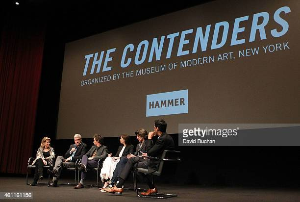 Producer Lisa Bruce screenwriter and producer Anthony McCarten actor Eddie Redmayne actress Felicity Jones director James Marsh and MoMA Chief...