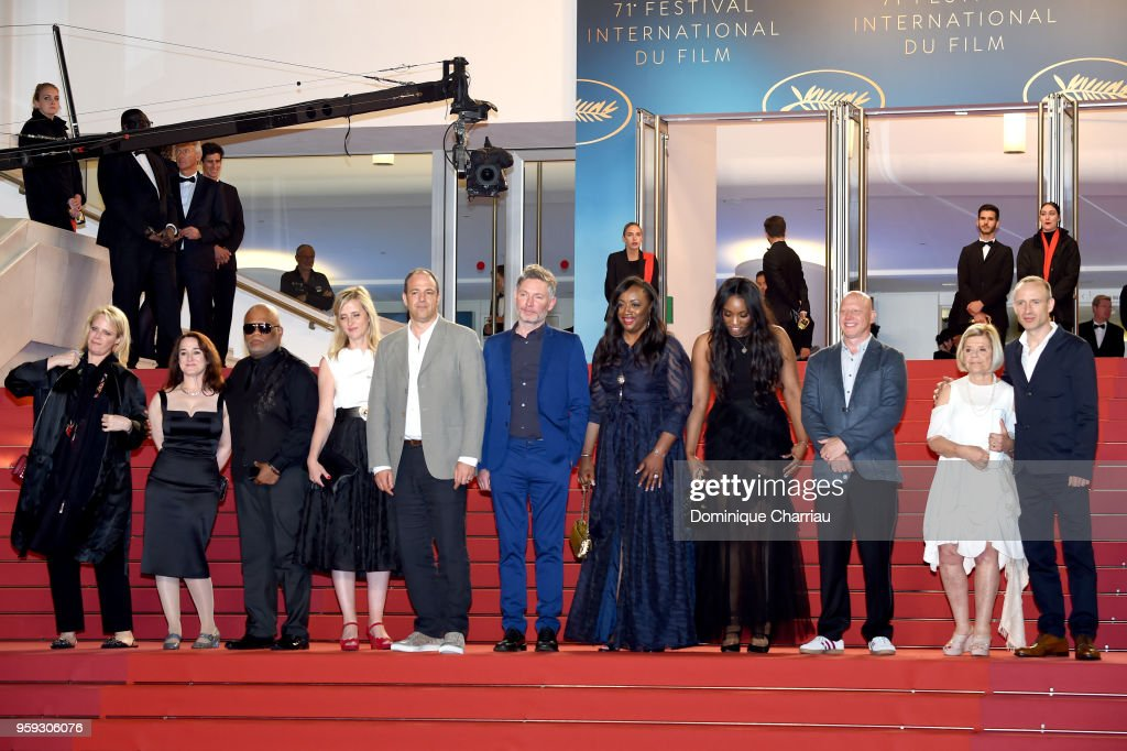 Producer Lisa Erspamer, co-producer Vanessa Tovell, Ulysses Carter, Lara Chinn, producer Simon Chinn, director Kevin Macdonald, executive producer Pat Houston, Rayah Houston, producer Jonathan Chinn, executive producer Nicole David and editor Sam Rice-Edwards attend the screening of 'Whitney' during the 71st annual Cannes Film Festival at Palais des Festivals on May 16, 2018 in Cannes, France.