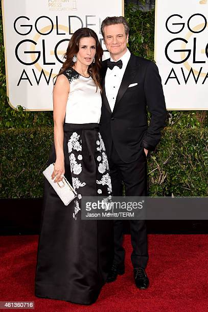 Producer Livia Giuggioli and actor Colin Firth attend the 72nd Annual Golden Globe Awards at The Beverly Hilton Hotel on January 11 2015 in Beverly...